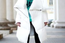 16 a midi white blanket padded coat and bright fuchsia booties are a chic idea for a modern feel