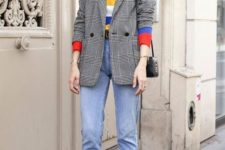 16 blue skinny jeans, a colorful striped top, a plaid blazer, printed kitten heels and a black bag