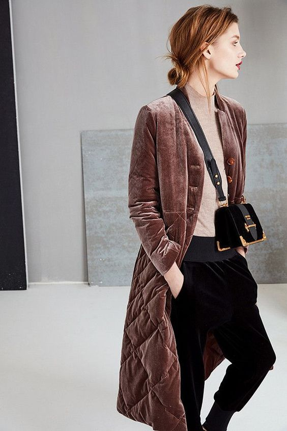 velvet effect burgundy quilted coat like this one is a fresh take on a classic coat