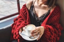 17 black jeans, a black lace top, a red chunky knit cardigan for a fantastic weekend look
