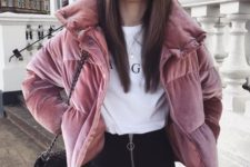 18 a stylish look with a white printed tee, black skinnies, a pink velvet padded coat and a black bag