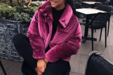 19 a chic outfit with a black top and skinnies, checked slipons and a fuchsia velvet padded jacket