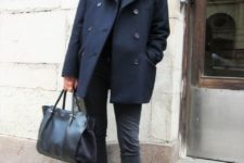 21 an elegant casual outfit with graphite grey jeans, blakc loafers, a black top, a navy pea coat and a black bag