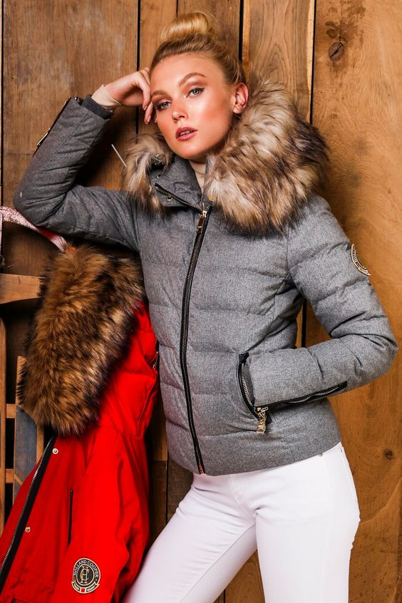 a grey padded jacket that imitates the look of wool is a very trendy option