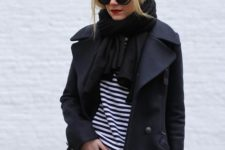 23 a bold casual look with a striped top, blakc leather leggings, a navy wrap coat, a striped top and a black scarf