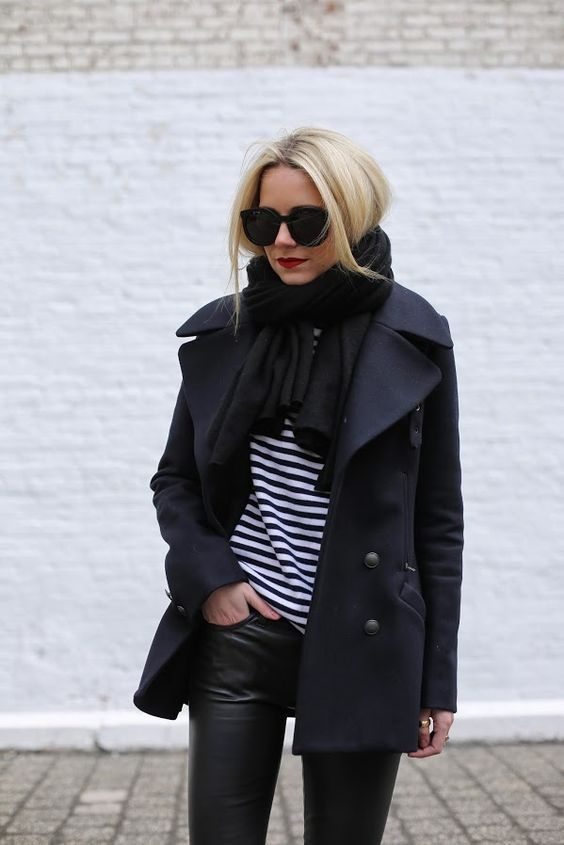 a bold casual look with a striped top, blakc leather leggings, a navy wrap coat, a striped top and a black scarf