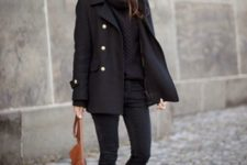 24 a comfortable and chic total black look with a sweater, a pea coat, skinnies, booties and a brown bag