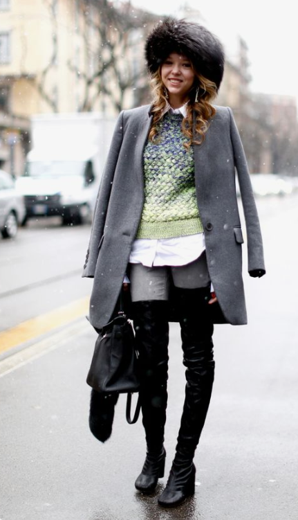 a grey coat paired with a faux fur hat looks very nice and very cool for the winter