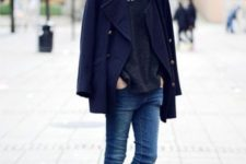 25 a chic casual look with a grey sweater, blue skinnies, black Chelsea boots, a navy pea coat for the winter