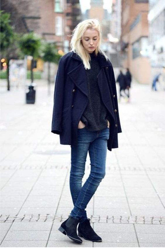 a chic casual look with a grey sweater, blue skinnies, black Chelsea boots, a navy pea coat for the winter