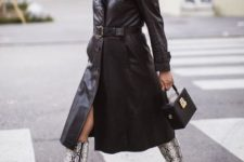 With black bag and printed high boots