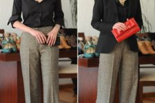With black button down shirt, red clutch and black blazer
