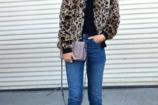 With black shirt, straight jeans, chain strap bag and embellished mules