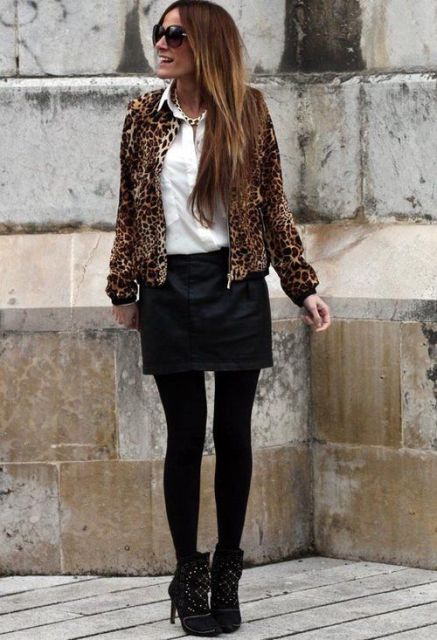 With button down shirt, black skirt and black embellished ankle boots
