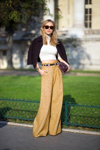 With cropped turtleneck, embellished belt, clutch and black jacket