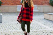 With dark green leggings, beige socks, brown boots and marsala bag