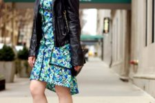 With floral dress and low heeled shoes