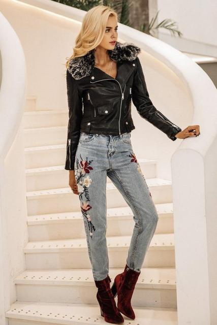 With floral printed jeans and marsala velvet boots