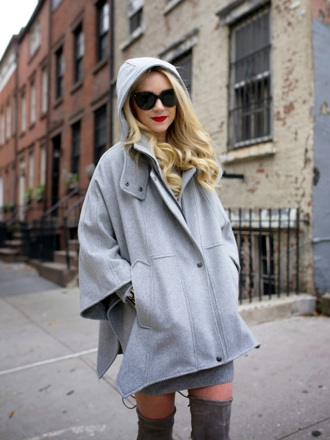 With gray mini dress, sunglasses and gray over the knee boots