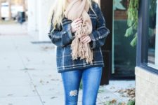 With jeans, beige fringe scarf and beige suede ankle boots
