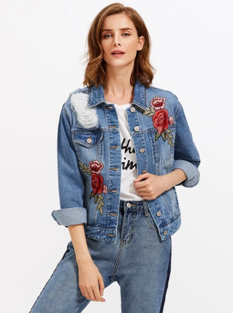 With labeled t shirt and high waisted jeans
