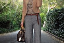 With leopard blouse, brown blazer, brown belt, printed bag and boots