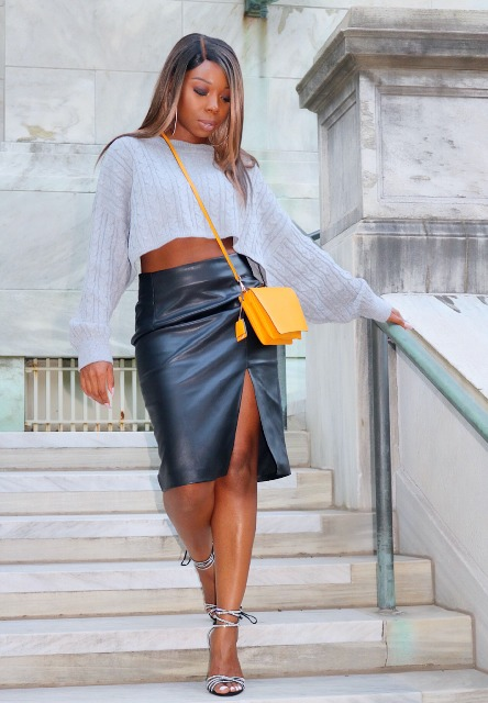 With loose cropped top, yellow crossbody bag and high heels