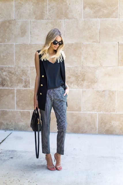 With loose top, printed trousers, black bag and shoes
