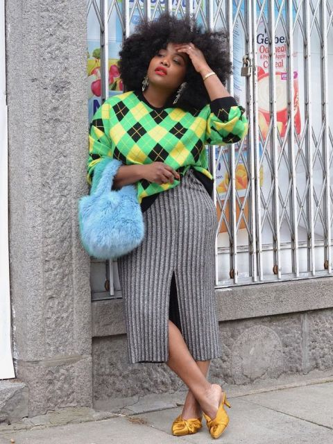 With midi skirt, blue fur bag and yellow mules