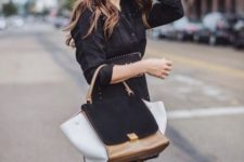 With mini dress, over the knee boots and three colored bag