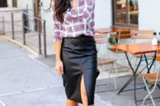With plaid button down shirt and ankle strap shoes