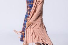With plaid knee-length dress, hat and brown suede ankle boots