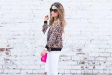 With polka dot shirt, white pants, pink bag and high heels