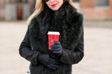 With polka dot skirt, black gloves and sunglasses