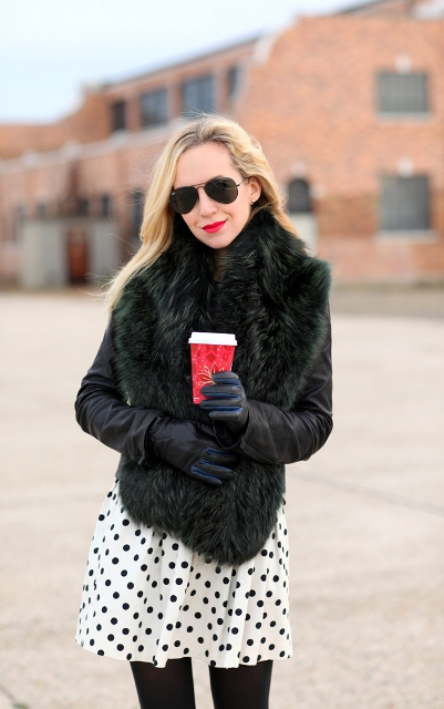With polka dot skirt, black gloves and sunglasses