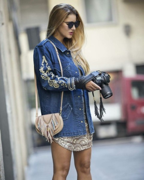 With printed dress, fringe bag and sunglasses
