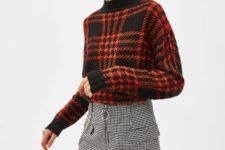 With printed mini skirt