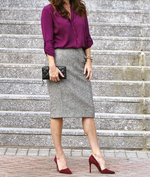 With purple shirt, black mini clutch and marsala suede pumps