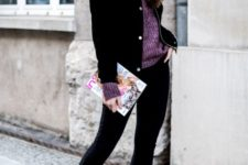 With purple sweater, black cropped pants and flat boots