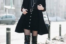 With red beret, black bag, patent leather over the knee boots, blouse and coat