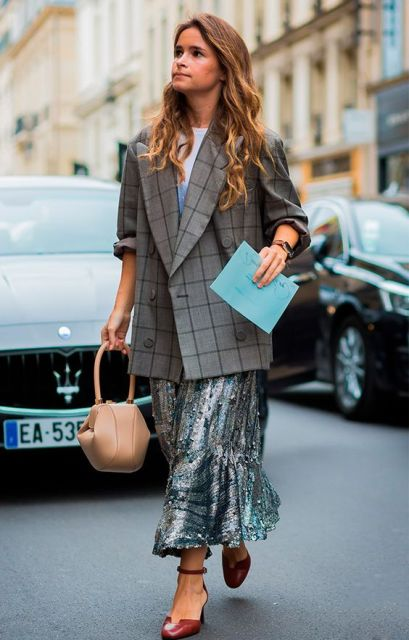With shirt, metallic maxi skirt, beige bag and ankle strap shoes