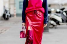 With sporty sweatshirt, pink metallic over the knee boots and mini bag