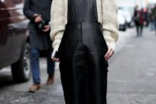 With white loose sweater and fur cutout boots