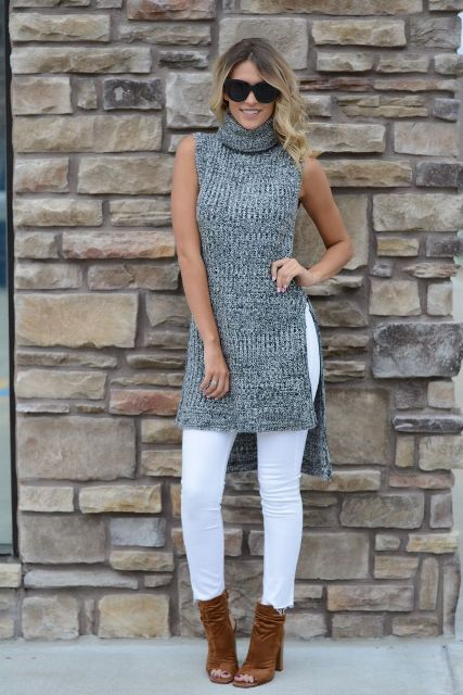 With white skinny pants and brown cutout ankle boots