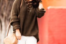 With white skinny pants, brown bag and brown suede over the knee boots