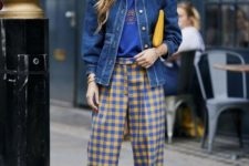 a bright fall look with a blue tee, a blue denim jacket with whimsy puff sleeves, blue and yellow plaid pants and a yellow bag