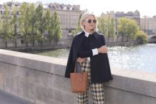 a chic look with a white shirt, a black top, plaid cropped pants, burgundy platform shoes and a black coat for work