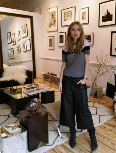 a cool fall look with a striped short sleeve jumper, black leather culottes, black suede boots