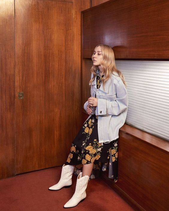 a moody floral wrap dress, an oversized white denim jacket and white cowboy boots for the fall