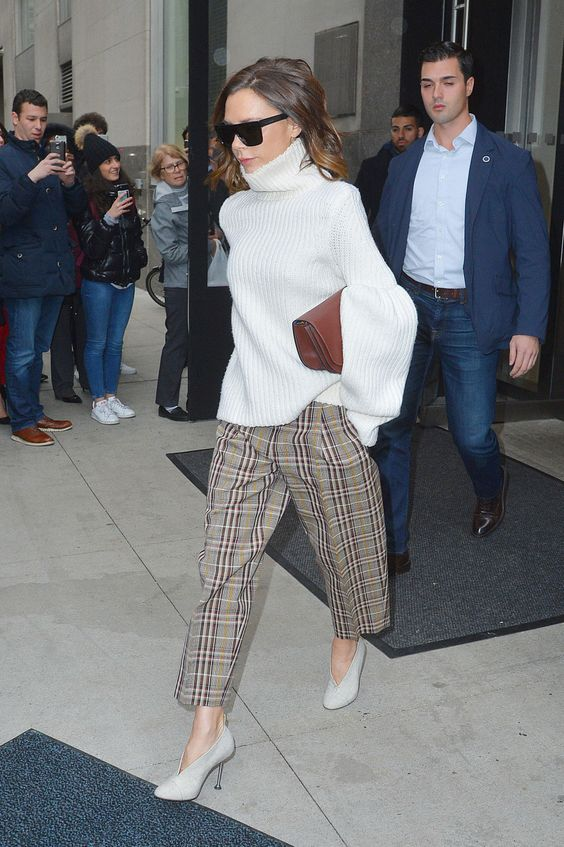 a trendy look by Victoria Beckham - a white oversized sweater, plaid cropped pants and neutral shoes plus a burgundy bag